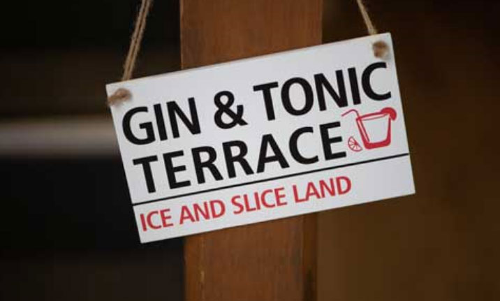 The gin and tonice terrace in the office